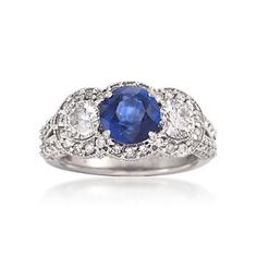 C. 2000 Vintage 2.20 Carat Sapphire and 1.80 ct. t.w. Diamond Ring In 14kt White Gold. Size 7.5