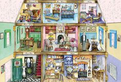 Upstairs & Downstairs 500 piece jigsaw by Val Goldfinch Canada | CanadaPuzzles.ca