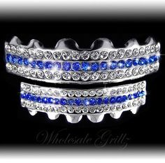 *2ND* TOP & BOTTOM iced out BLUE Stripe GRILLZ SET HipHop Bling GRILLS FOR TEETH buy now from ebay seller wholesale_grillz and follow us wholesale grillz