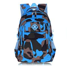 Bebone Boys Girls Student Visual Camo Vintage Backpack Blue * Learn more by visiting the image link.