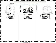 Here's a graphic organizer for writing about owls.