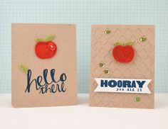 Awesome Apples: Tutorials for quick little cards using dies to cut wool felt. Using Studio Calico Fruit punch dies, Bluegrass Farm Card kit, Clarabelle Add-On kit and Wonky Diamond Background die with Color Theory Sequins.  @Studio_Calico