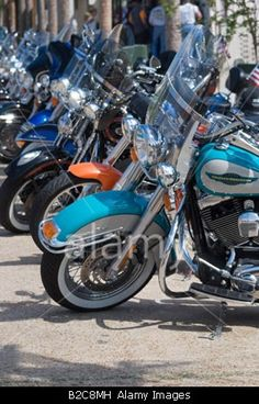 line up of Harley Davidson motorcycles along street in Apalachicola Florida © Pat Canova / Alamy