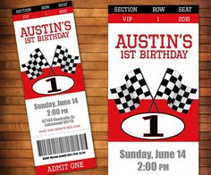 Race Car Pit Pass Ticket birthday party invitation. Red black and white theme with checkered flags