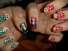 Nail Art Mario  Luigi (NailArtNat) Tags: art nail mario bros jogo luigi cogumelos unha artstica decorada