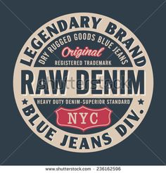 Vintage denim NYC typography, t-shirt graphics, vectors - stock vector
