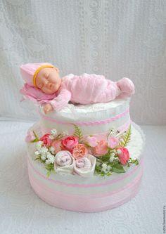 """Подарки для новорожденных, ручной работы. Ярмарка Мастеров - ручная работа. Купить Торт из памперсов """"Розовое чудо"""". Handmade. Торт из памперсов"""
