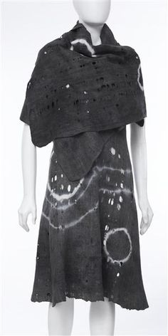 Wool felt dress and wrap, plant dyed