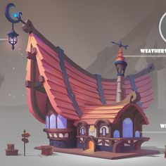 Dusk Tavern by JiaYing Liang on ArtStation. Building Sketch, Building Concept, Building Design, Game Design, Prop Design, Environment Concept Art, Environment Design, Cartoon Building, 2d Game Art