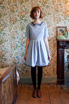 The 'Forget-Me-Not' Sleeved Dress with Peter Pan Collar & Vintage Lace via I K N O W