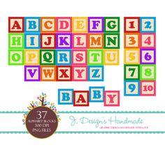INSTANT DOWNLOAD – Alphabet And Number Wooden Blocks Clipart | J.Designs Handmade