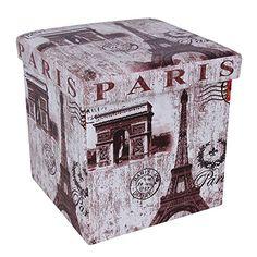 "Songmics Faux Leather Storage Ottoman Footrest Stool Toy Chest 14 7/8"" Cube, Arch of Triumph, Paris Collection ULOT10T"