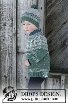 Seiland Jumper / DROPS Children - Set consists of: Jumper for kids with round yoke and multi-coloured Norwegian pattern, worked top down. Hat with multi-coloured Norwegian pattern and pompom. Size 2 - 12 years Set is knitted in DROPS Merino Extra Fine. Baby Knitting Patterns, Jumper Patterns, Knitting Designs, Baby Patterns, Knitted Hats Kids, Knitting For Kids, Knitting Socks, Free Knitting, Drops Design
