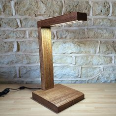 hardwood wooden desk lamp