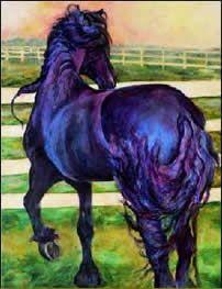 Friesian horse painting by Karen Brenner