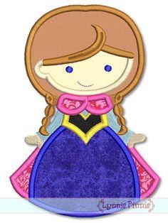Embroidery Designs - Snow Princess Cutie SVG - Welcome to Lynnie… Applique Monogram, Applique Fabric, Machine Embroidery Applique, Embroidery Files, Embroidery Patterns, Zine, Disney Applique, Textiles, Princesas Disney