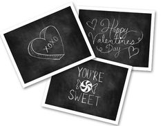 This listing is for a set of 3 Chalkboard Valentine cards that can be printed on your home printer or sent out to a professional printer for