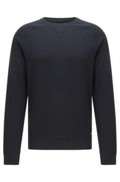 Felpa slim fit mélange in cotone con maniche raglan: 'Skubic 18-WS'  Grigio da BOSS per Uomo per € 179,00 sull'HUGO BOSS Online Store ufficiale free shipping