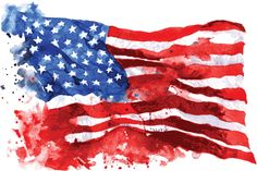 Picture of Flag of America, hand-drawn watercolor on white background stock photo, images and stock photography. American Flag Crafts, American Flag Wall Art, American Flag Painting, American Flag Pallet, Us Flags, Food Flags, Aquarell Tattoo, Old Glory, Declaration Of Independence