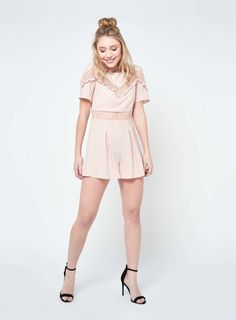 PETITE Lace Insert Playsuit - Rompers & Jumpsuits - Apparel - Miss Selfridge US