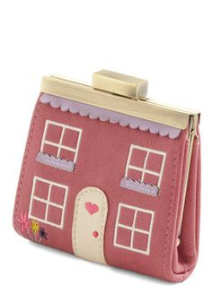 House Fund Wallet in Rose. A nickel here, two quarters there - make every cent count toward your dream house with this charming wallet from Ollie Nic! Handbags Online Shopping, Designer Handbags On Sale, Cheap Designer, Discount Designer, Louis Vuitton Handbags Sale, Handbags Michael Kors, Unique Purses, Novelty Print, Cute Bags