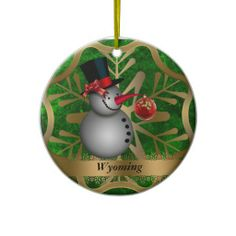 Wyoming State Christmas Ornament $  #ornament #Christmas #wyoming #state #zazzle.com