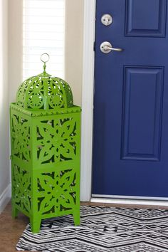 Paint both sides of your front door for a POP of color - Navy Blue Interior Painted Door