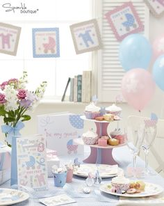 Baby Shower Table Decorations | Luxury Baby Shower Decorations / New Baby / Christening Party - Unisex ...