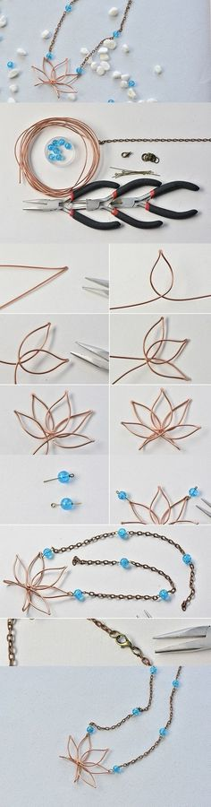 DIY Wire Wrapped Lotus Pendant Necklace with Chain and Beads.