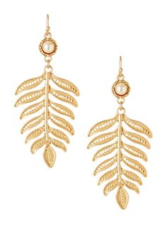 Lovely $`13.00  50% off MSRP Today Only!  Pearl Cabochon Leaf Drop Earrings by Day to Night: Jewelry Event on @HauteLook