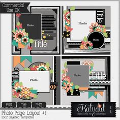 Quick Page Templates Pack No 1, PSD, TIFF, PNG, Commerical Use, Scrap, Scrapbook
