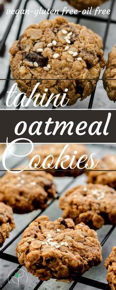 Vegan & gluten free Tahini Oatmeal Raisin Cookies! These cookies are easy and take less than 30 minutes to make!   Gluten free cookies, vegan gluten free cookies, healthy cookies, healthy cookie recipe.