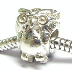 Sterling Silver OWL BIRD w/ Glass Bead for Pandora Troll European Charm Bracelets 13mm $16.98