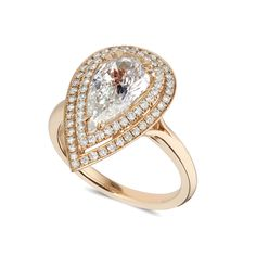 pear cut white diamond featuring a double halo comprised of 38 brilliant cut white diamonds set in rose gold Designer Engagement Rings, Diamond Engagement Rings, Pear Shaped Diamond, White Diamonds, Pink Sapphire, Wedding Jewelry, Topaz, Halo, Wedding Bands