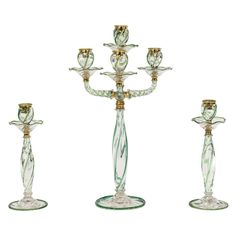 Webb 3 Piece Candelabra Centerpiece Set with Applied Apple Green Decoration | From a unique collection of antique and modern candle holders at https://www.1stdibs.com/furniture/decorative-objects/candle-holders/