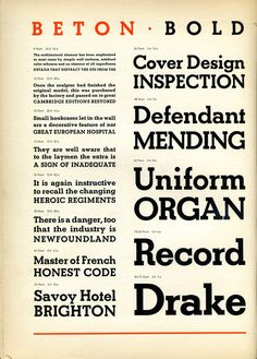 Beton Bold type specimen in Type Specimens