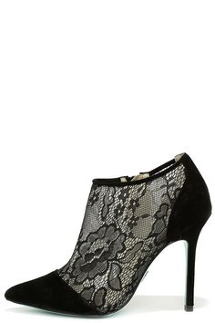 Blue by Betsey Johnson Lola Black Suede Leather Lace Booties at Lulus.com!