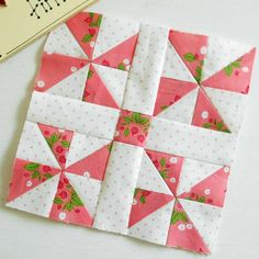 I paper-pieced and patched this block using the last of my Gooseberry fabric scraps. Quilt Square Patterns, Pattern Blocks, Square Quilt, Quilting Tutorials, Quilting Projects, Sewing Projects, Embroidery Designs, Quilting Designs, Patchwork Quilting