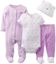 Carters Baby Girls 4 Piece Layette Set Baby  Lavender  Lavendar  6 Months >>> Click image to review more details.-It is an affiliate link to Amazon. #BabyClothing