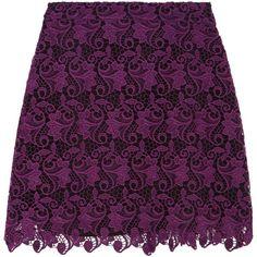 ALICE + OLIVIA   Riley macramé lace mini skirt ($175) ❤ liked on Polyvore featuring skirts, mini skirts, short mini skirts, short skirts, zipper skirt, scalloped lace mini skirt and lace miniskirts