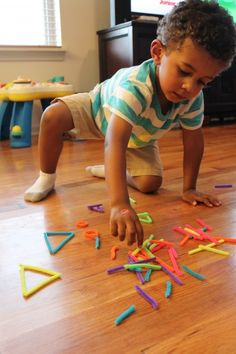 Preschool Activities -- Practicing letters, shapes, colors, counting, sorting, and more with pipe cleaners.