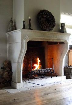 This is for the bottom half of the fireplace, use some of the curves like the kitchen hood to match details. Fireplace Hearth, Fireplace Mantle, Farmhouse Fireplace, Fireplace Surrounds, Fireplace Design, Fireplaces, Antique Fireplace Mantels, Home Living, My New Room