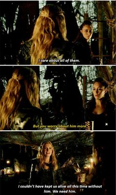 """You care about him [Bellamy]"" - Lexa to Clarke #the100"