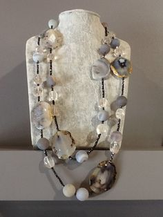 Grey agate and clear quartz. Contact: franschhoekjade@telkomsa.net