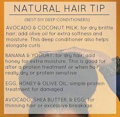 Diy deep conditioner for natural hair Natural Hair Care Tips, Natural Hair Growth, Natural Hair Journey, Natural Hair Styles, Natural Black Hair, Natural Hair Regimen, Dry Brittle Hair, Nagel Blog, Pelo Afro
