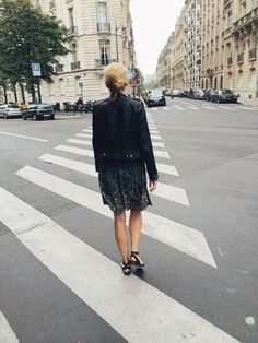 Out and About in Paris, street style, leather jacket & dress