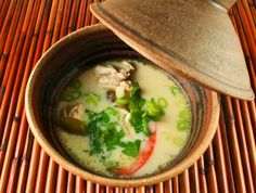 Tom Kha Gai -- An immune-boosting, delicious Thai soup made with chicken broth, coconut milk, lemon, ginger, and garlic. YUM. - Click image to find more Food & Drink Pinterest pins