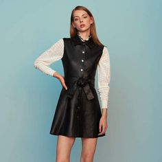 630ac4be7087b9 Maje Sleeveless leather shirt dress Classy Dress
