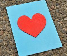 Handmade Love Card {Red Heart} Blue