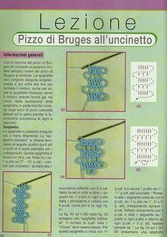 lo spazio di lilla: Come si lavora il pizzo di Bruges all'uncinetto / Bruges crochet lace school